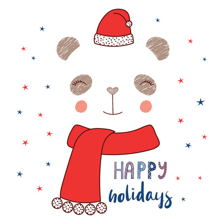 Hand drawn vector illustration of a cute funny panda face in Santa Claus hat, muffler, text Happy holidays. Isolated objects on white background with stars. Design concept for kids, winter, Christmas.
