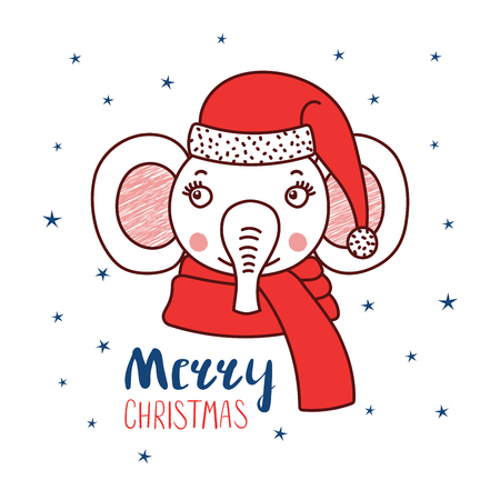 Hand drawn vector portrait of a cute funny elephant in a Santa hat, text Merry Christmas. Isolated objects on white background with stars. Vector illustration. Design concept for kids, winter holidays