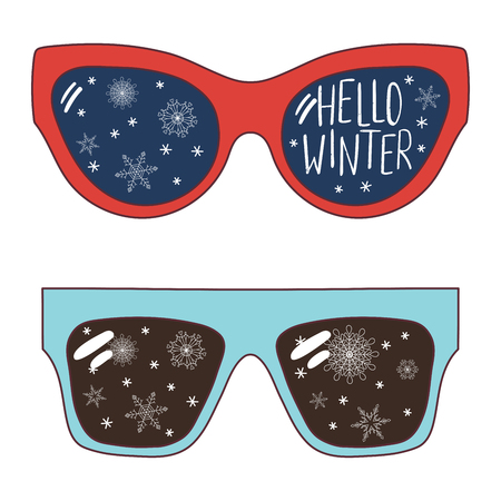 Hand drawn vector illustration of oversized sunglasses, with text Hello Winter, snowflakes reflected inside the lenses. Isolated objects on white background. Design concept for change of seasons. Illustration