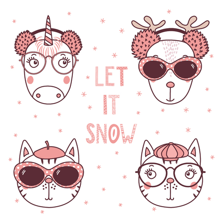 Set of hand drawn cute funny portraits of cats, deer, unicorn, in different hats, earmuffs, glasses, text Let it snow. Isolated objects on white background. Vector illustration. Design concept kids.