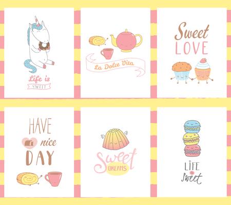 달콤한 음식 낙서, 귀여운 얼굴 및 typograhpy, 이탈리아어 비 타 인사말 카드에 대 한 손으로 그려진 된 템플릿의 컬렉션 달콤한 인생입니다. 벡터 일러스 일러스트