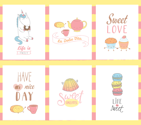 Collection of hand drawn templates for greeting cards, with sweet food doodles, with cute faces and typograhpy, Italian vita Sweet life. Vector illustration. Design concept kids.