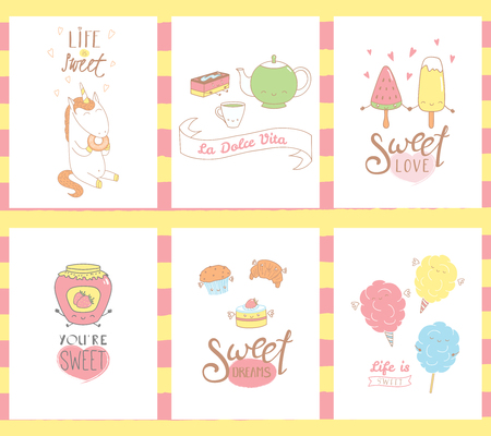 Collection of hand drawn templates for greeting cards, with sweet food doodles, with cute faces and typograhpy, Italian text Sweet life. Vector illustration. Design concept kids. Çizim