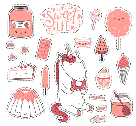Set of different lovely hand drawn stickers with sweet food doodles, with cute cartoon faces, unicorn eating donut, typography. Isolated objects on white background. Design concept dessert, kids.