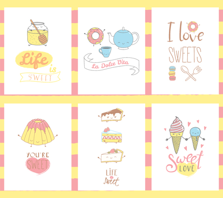 Collection of hand drawn templates for greeting cards, with sweet food doodles, with  faces and typograhpy, Italian text La dolce vita (Sweet life). Vector illustration. Design concept kids. Illustration