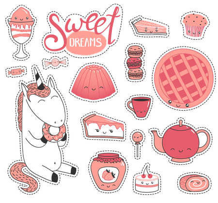 Set of different lovely hand drawn stickers with sweet food doodles, with  cartoon faces, unicorn eating donut, typography. Isolated objects on white background. Design concept dessert, kids.