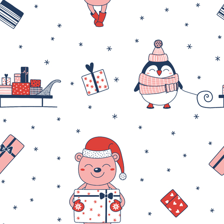 Hand drawn seamless vector pattern with a cute penguin, sledge with presents, bear carrying a gift, on a white background.