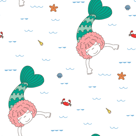 Hand drawn seamless vector pattern with a cute funny little mermaid girl, swimming in the sea, waves, shells, crab, starfish, on a white background. Illustration
