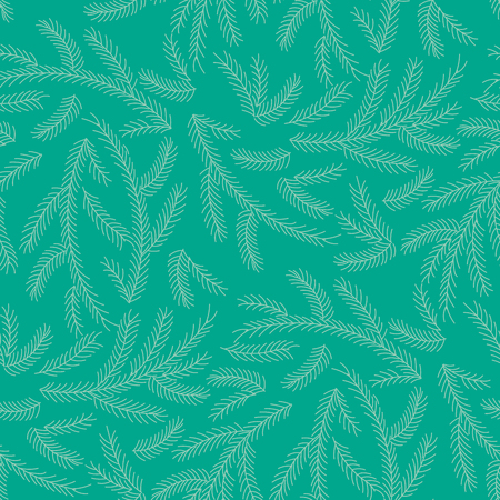Hand drawn seamless vector pattern with fir tree branches. Design concept for Christmas, winter, kids textile print, wallpaper, wrapping paper.