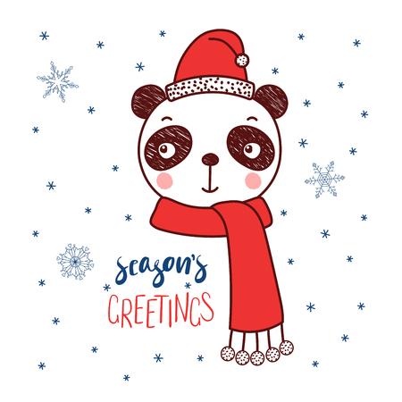 Hand getekend vector portret van een schattige grappige panda in een kerstmuts, tekst seizoen groeten. Geïsoleerde objecten op witte achtergrond met sneeuwvlokken. Vector illustratie. Ontwerpconcept voor kinderen, Kerstmis.