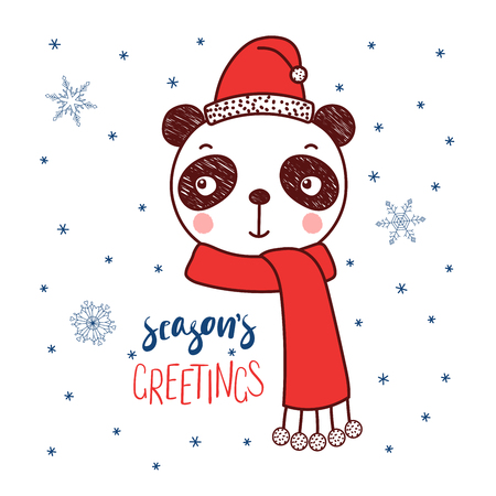 Hand drawn vector portrait of a cute funny panda in a Santa hat, text Season's greetings. Isolated objects on white background with snowflakes. Vector illustration. Design concept for kids, Christmas.