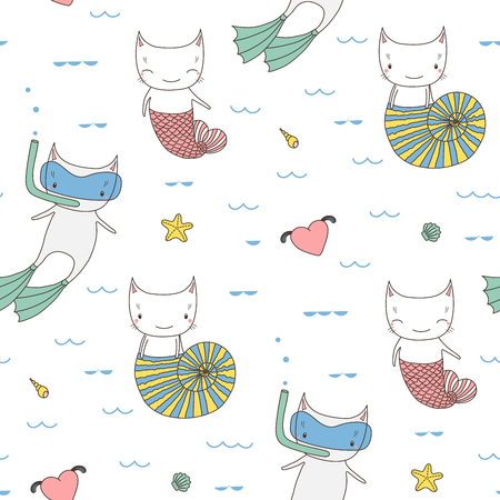 Hand drawn seamless vector pattern with cute funny cats under water, with fish tail, in a sea shell and in swim fins and scuba mask. Design concept for kids textile print, wallpaper, wrapping paper.