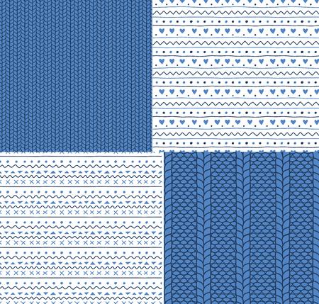 4 손 세트 니트 바늘 및 간단한 장식품 원활한 벡터 패턴을 그렸다. 크리스마스, 겨울, 아이 섬유 인쇄, 벽지, 포장지 디자인 개념.