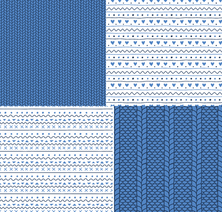 Set van vier hand getrokken naadloze vector patronen met gebreide steken en eenvoudige ornamenten. Ontwerpconcept voor Kerstmis, winter, kinderen textieldruk, behang, inpakpapier. Stock Illustratie