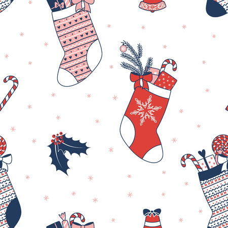 Hand drawn seamless vector pattern with Christmas stockings filled with presents, holly, bell, on a white background. Design concept for winter holidays, kids textile print, wallpaper, wrapping paper. Illustration