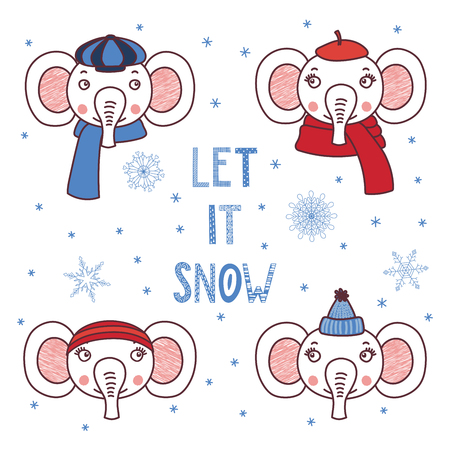 Set of hand drawn cute funny portraits of elephants in different warm hats Illustration