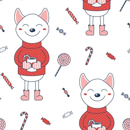 砂糖の杖をココアのマグカップを保持しているセーターの柴犬の、手で描かれたシームレスなベクトルパターン