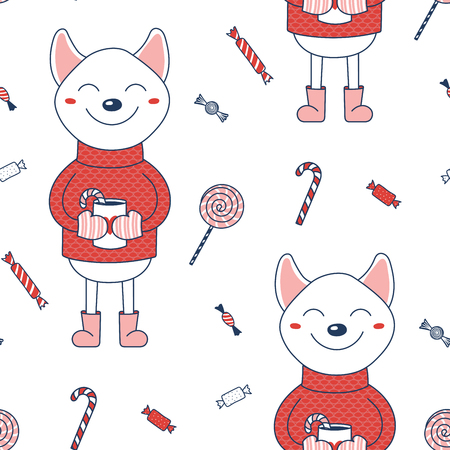 Hand drawn seamless vector pattern with Shiba Inu dog in a sweater holding a mug of cocoa with sugar canes