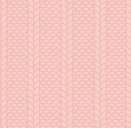 Hand drawn pattern of a knitted garter stitch with cables. Illustration