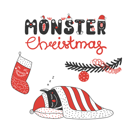 Hand drawn greeting card with a cute funny monster sleeping under the Christmas tree, with a stocking. Isolated objects on white background. Design concept kids, winter holidays. Vector illustration.