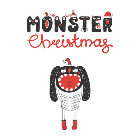 carols: Hand drawn Christmas greeting card with a cute funny monster in Santa Claus hat, singing carols. Isolated objects on white background. Design concept for children, winter holidays.