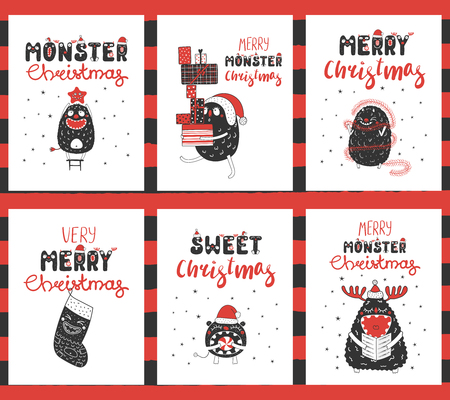 Set of hand drawn graphic greeting card templates with cute funny monsters, presents, ornaments, text Merry Christmas. Vector illustration. Design concept for children, winter holidays.