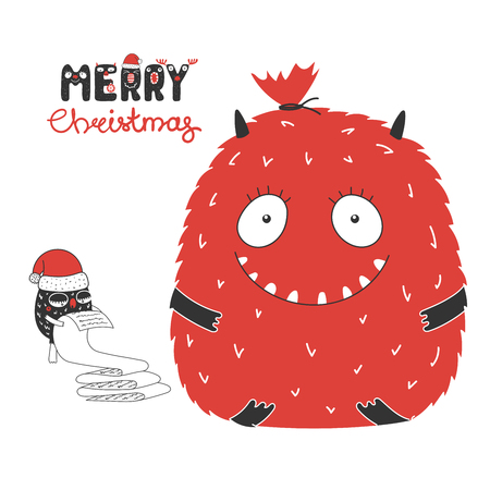 Hand drawn Christmas greeting card with cute funny monsters, reading a long list, bag with presents. Isolated objects on white background. Design concept kids, winter holidays. Illustration