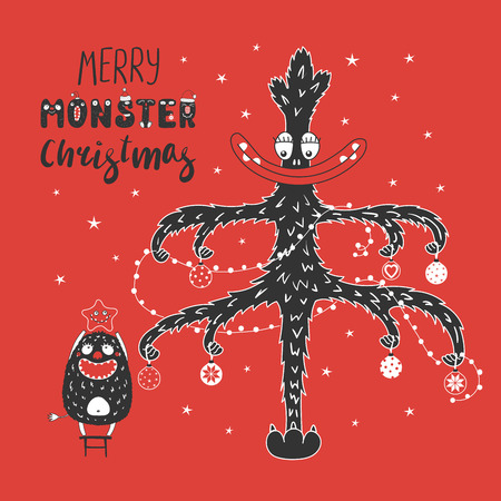 Hand drawn greeting card with a cute funny Christmas tree, monster standing on a stool, holding a star. Isolated objects on white background. Design concept kids, winter holidays. Illustration