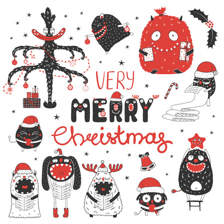 Set of hand drawn cute funny monsters in Santa hats, with presents, ornaments, text Very Merry Christmas. Isolated objects on white background. Vector illustration. Design concept kids, winter holiday Illustration