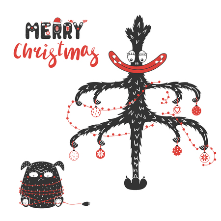 Hand drawn greeting card with cute funny monsters, tangled in garland, smiling Christmas tree. Isolated objects on white background. Design concept for children, winter holidays. Vector illustration.
