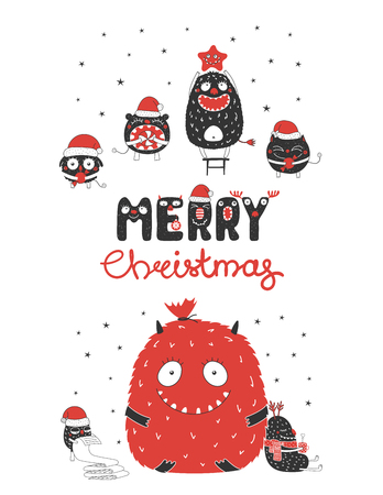 Christmas greeting card with cute monsters, reading list, bag with presents, with mug, star, candy. Isolated objects on white background. Design concept winter holidays. Vector illustration