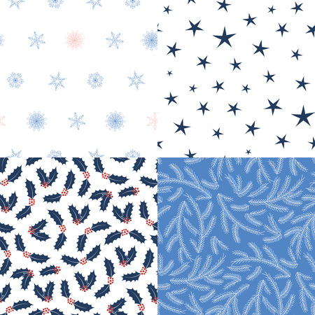 Set of four hand drawn seamless vector patterns with fir tree branches, stars, snowflakes, holly leaves, berries. Design concept for Christmas, winter, kids textile print, wallpaper, wrapping paper. Illustration