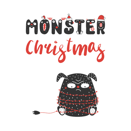 Hand drawn greeting card with a cute funny sulky monster tangled in Christmas lights garland. Isolated objects on white background. Design concept for children, winter holidays. Vector illustration.