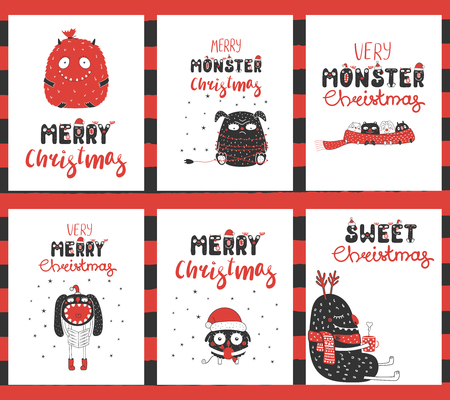 Set of hand drawn graphic greeting card templates with cute funny monsters, candy, ornaments, text Merry Christmas. Design concept for children, winter holidays.