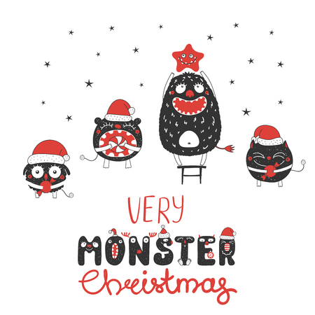 Hand drawn Christmas greeting card with cute monsters, standing on a stool, holding star, candy. Isolated objects on white background. Design concept for children, winter holidays. Vector illustration