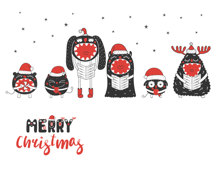Christmas greeting card with cute funny monsters, singing carols, holding candy. Isolated objects on white background. Design concept for children, winter holidays. Vector illustration. Illustration