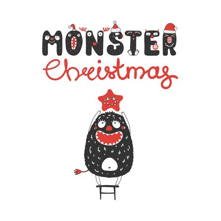 Hand drawn Christmas greeting card with a cute funny monster standing on a stool, holding a star. Isolated objects on white background. Design concept children, winter holidays. Vector illustration. Illusztráció