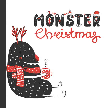 Hand drawn Christmas greeting card with a cute funny monster in a muffler, holding a steaming mug. Isolated objects on white background. Design concept for kids, winter holidays. Vector illustration.