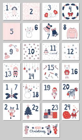 Calendrier de l'Avent dessiné à la main avec des personnages de dessins animés mignons en vêtements d'hiver vector illustration Banque d'images - 90860295