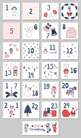 Hand drawn advent calendar with cute cartoon characters in winter clothes vector illustration