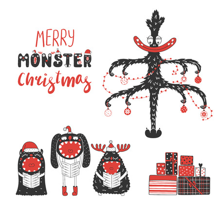 A card with cute monsters in Santa Claus hats, singing Christmas carols, presents, tree. Isolated objects on white background. Design concept kids, winter holidays. Vector illustration.