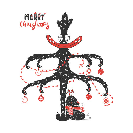 Hand drawn greeting card with a cute monster holding a steaming mug, sitting under the Christmas tree. Isolated objects on white background. Design concept kids, winter holidays. Vector illustration.