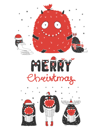 Christmas greeting card with cute monsters, reading a list, bag with presents, with a mug, singing carols. Isolated objects on white background. Design concept holidays. Vector illustration Illustration