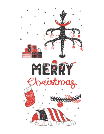 Hand drawn greeting card with cute funny sleeping monster, stocking, presents under the Christmas tree. Isolated objects on white background. Design concept kids, winter holidays. Vector illustration.