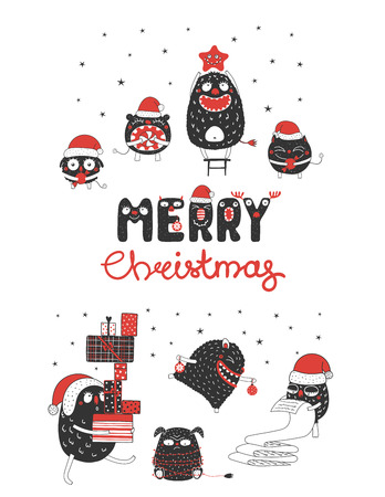 Hand drawn greeting card with cute monsters, reading list, carrying presents, holding star, candy, Christmas ornaments. Isolated objects on white background. Design concept kids. Vector illustration.