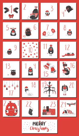 산타 클로스 모자, 선물, 트리, 장식, 장갑, 스타, 스타킹, 활판 인쇄에서 귀여운 재미 있은 괴물과 손으로 그린 출현 달력. 크리스마스, 어린이위한 디자인 개념입니다. 벡터 일러스트 레이 션 스톡 콘텐츠 - 92028202