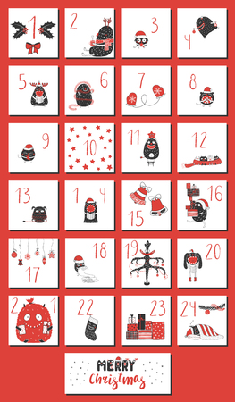 Hand drawn advent calendar with cute funny monsters in Santa Claus hats, presents, tree, decorations, mittens, stars, stocking, typography. Design concept for children, Christmas. Vector illustration Ilustracja