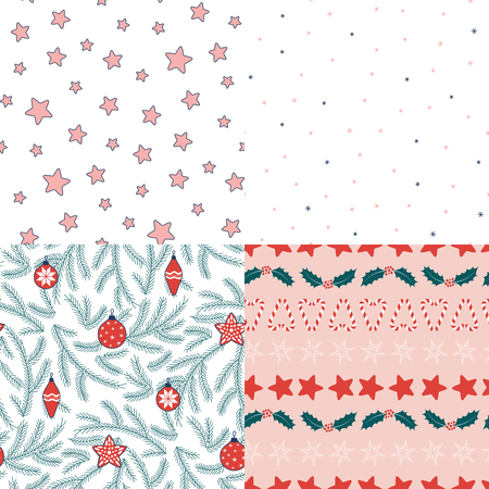 Set of four hand drawn seamless vector patterns with fir tree branches, Christmas decorations, stars, snowflakes, sugar canes, holly. Design concept for winter, kids print, wallpaper, wrapping paper. Illustration