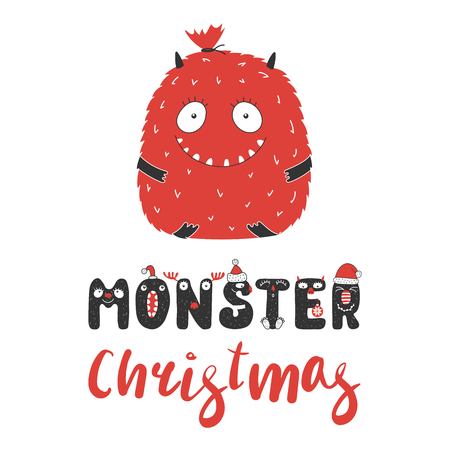 Greeting card with a big cute funny smiling monster Christmas bag with presents. Isolated objects on white background. Design concept for children, winter holidays. Vector illustration.