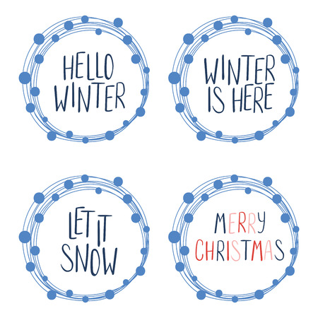 Collection of different winter, Christmas quotes, typographic elements, in round frames . Isolated objects on white background. Vector illustration. Design concept winter holidays, season change. 向量圖像